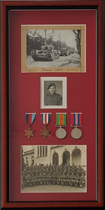 Old medals framed with pictures