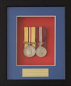 Full size pair of medals with engraved plate